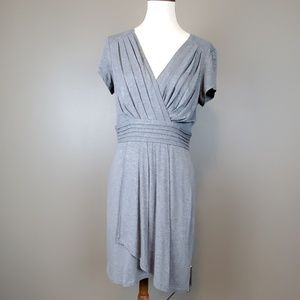 Max and Cleo Pleated Bodice Wrap Style Grey Dress